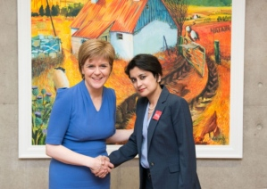 Nicola Sturgeon and Human Rights campaigner Shami Chakrabart to defend the Human Rights Act today in Glasgow.