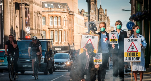 EDINBURGH, UK: Campaigners from Friends of the Earth Scotland gather on Nicolson Street to demand clean air (Photograph: MAVERICK PHOTO AGENCY)